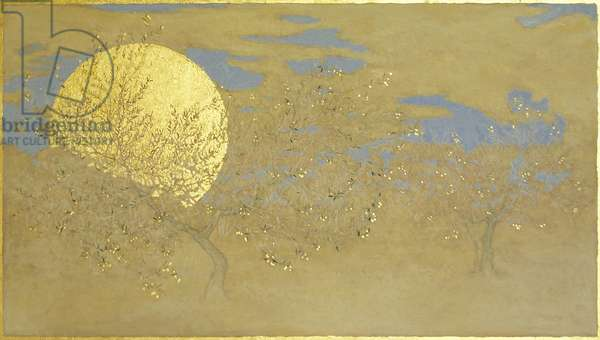 Happiness, 2014, oil and gold leaf on panel