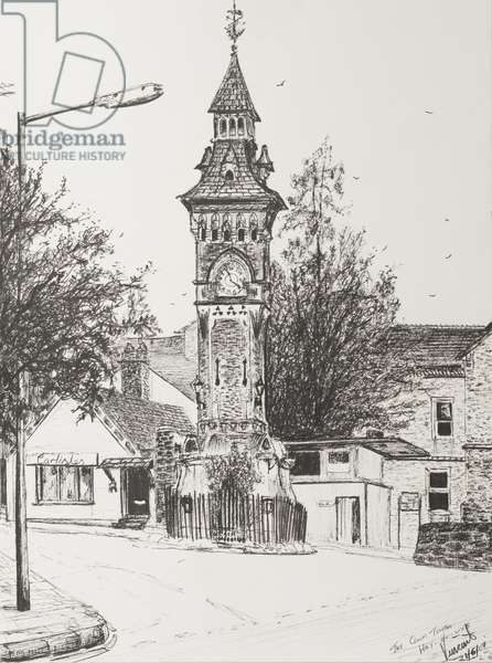 Clock Tower, Hay on Wye, 2007,  (ink on Paper)
