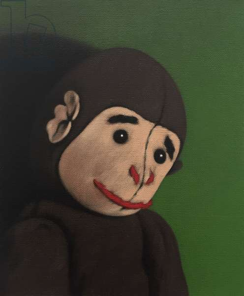 Monkey Portrait on Green, 2005, (oil on canvas)