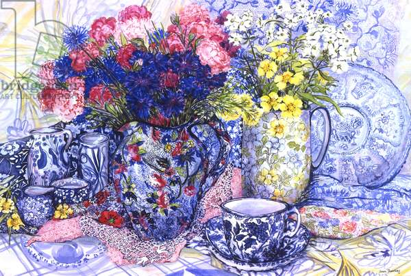 Cornflowers with Antique Jugs and Patterned Fabrics, 2012 (w/c on paper)