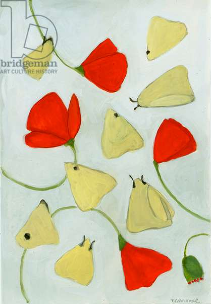 Poppies & Moths, 2015 (gouache on paper)