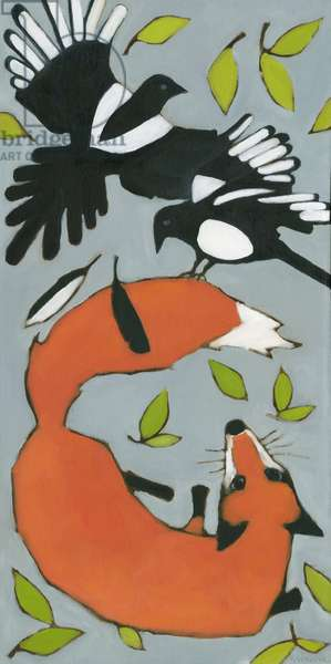 Magpies & Fox, 2013 (oil on canvas)