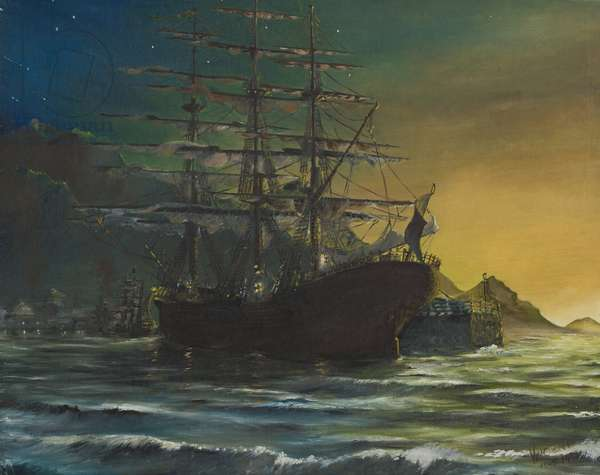 Clipper ship in port 1860's, 1991,  (oil on canvas board)