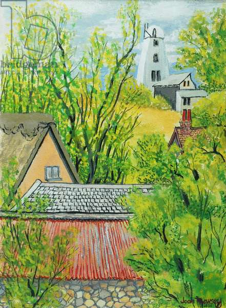 View from Cynthia's Window, Dalham, Suffolk (gouache on paper)