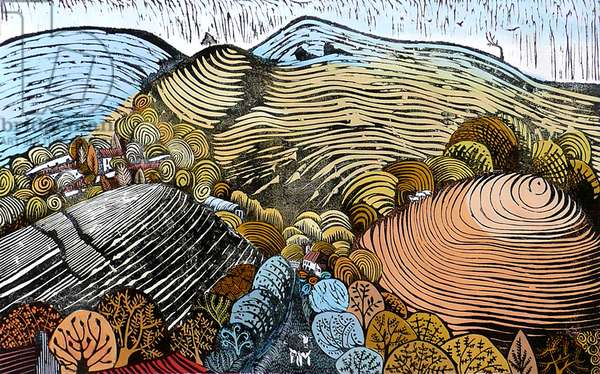 The Hills Between, 2008 (gouache/linocut)