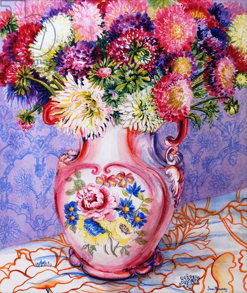 Asters in a Pink Floral Victorian Jug 2002( w/c on paper)