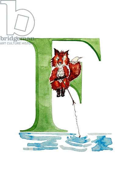 F Fishing Fox, 2019, (watercolour and ink)