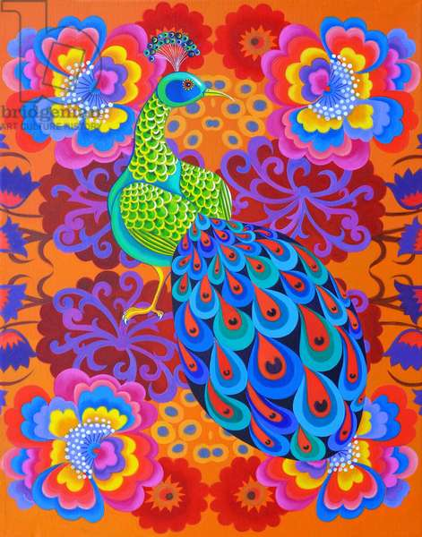 Peacock with flowers, 2015, (oil on canvas)