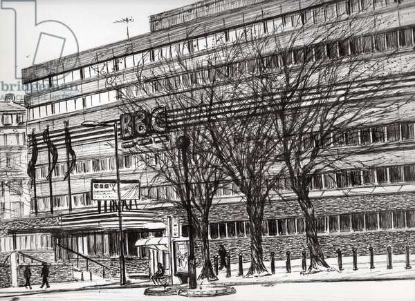 The Old BBC Oxford road Manchester, 2011, (ink on paper)