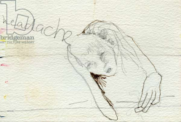 Headache, 2000, pencil and watercolor on paper