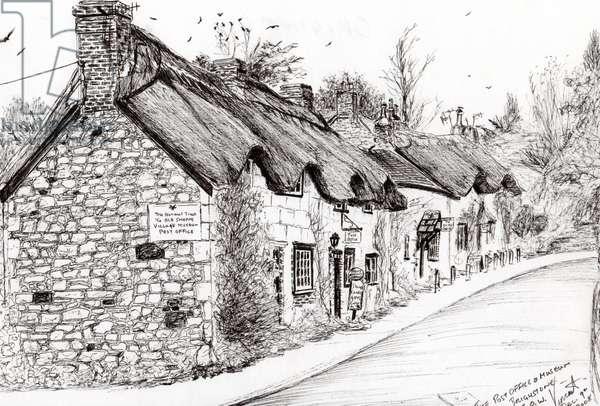 Post office and museum Brighstone I.O.W., 2008, (ink on paper)