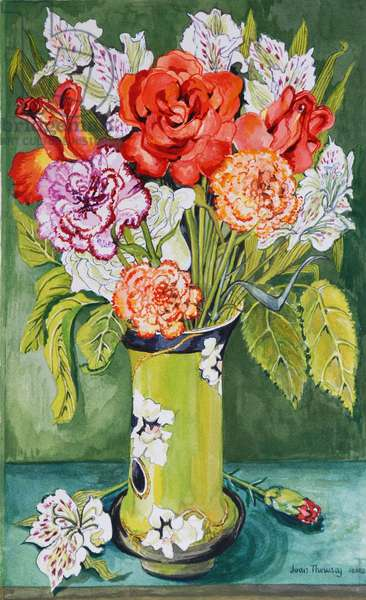 Carnations and Alstroemeria in an Art Nouveau Vase 2011 (w/c on paper)