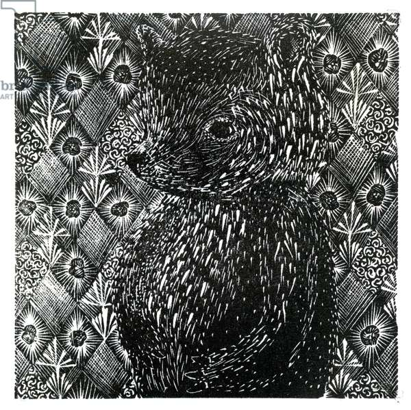 Ursus arctos ssp. domesticus, 2013 (wood engraving on paper)