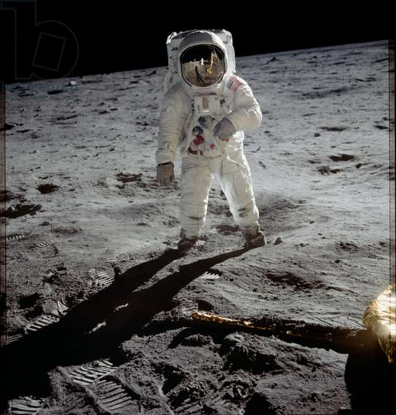 Astronaut Edwin 'Buzz' Aldrin standing on the moon after the Apollo 11 landing, 20 July 1969 (colour photo)