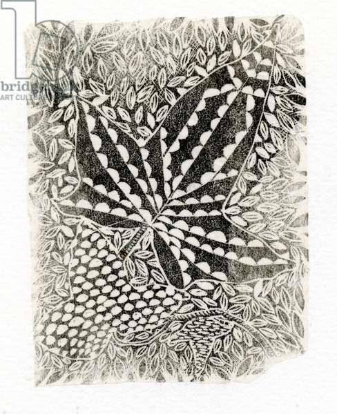 Ivy, 2014, (wood engraving on paper)