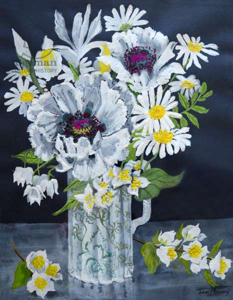 White Poppies, Marguerites and Philadelphus, (gouache)