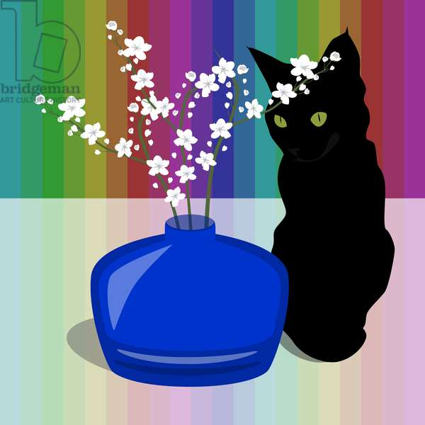 Blue Glass Vase with blossom and black cat