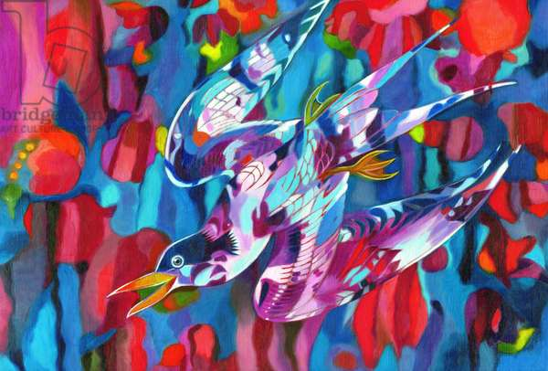 Diving bird, 2013, (oil on canvas)