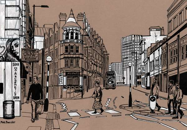 Croydon High Street, 2016, (acrylic ink on board)