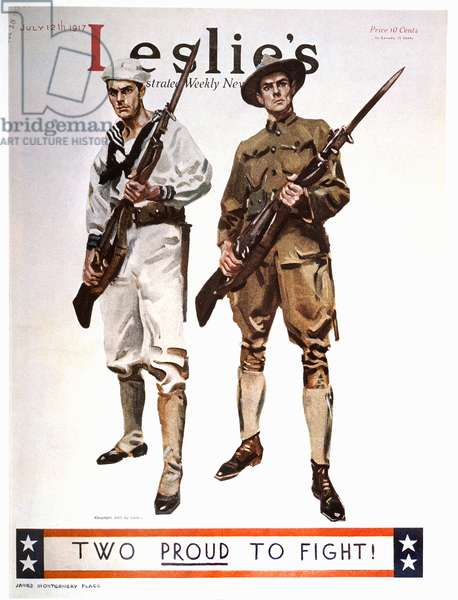 Two Proud to Fight!, Cover of Leslie's Illustrated Weekly News, July 12, 1917