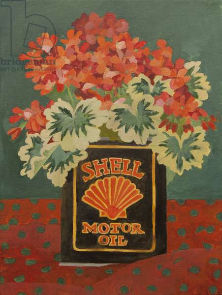 Red geraniums in Shell oil can (acrylic)