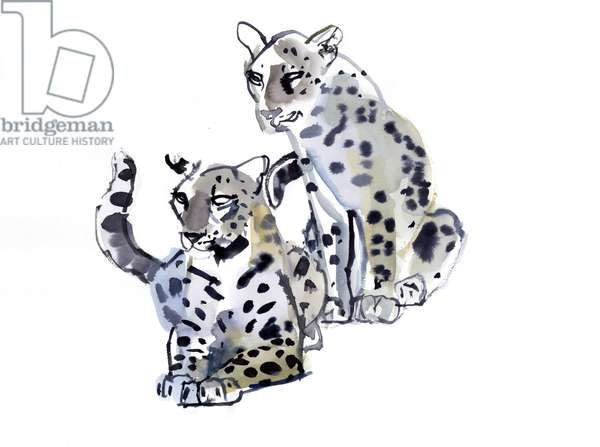 Mother and Son (Arabian Leopards), 2008 (w/c on paper)