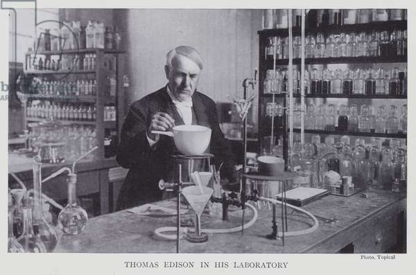 Thomas Edison in his laboratory (b/w photo)