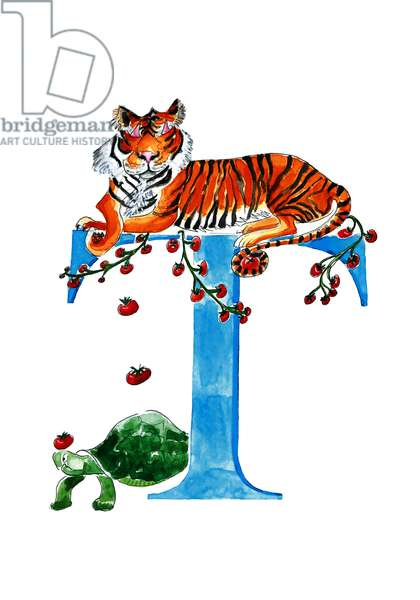 T Tomato throwing Tiger, 2019, (watercolour and ink)