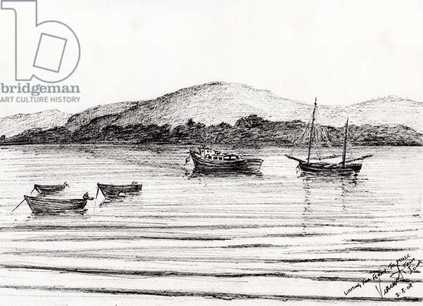 Boats off Iona, 2007, (ink on paper)