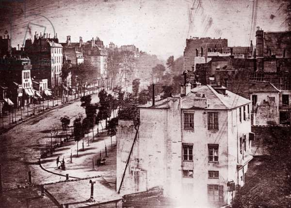 Boulevard du Temple, Paris, 3rd arrondissement, 1838. Daguerreotype, by Louis Daguerre (1787–1851)