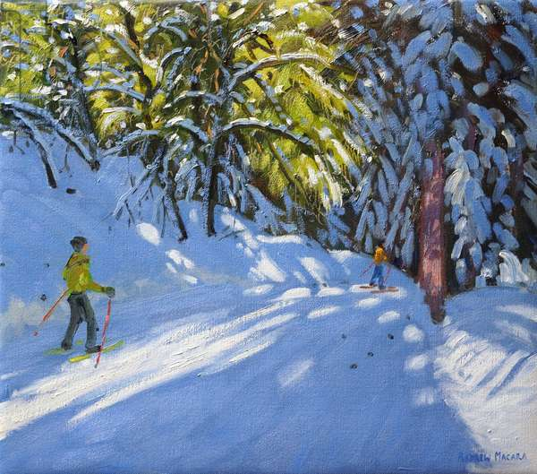 Skiing through the Woods, La Clusaz, 2012 (oil on canvas)
