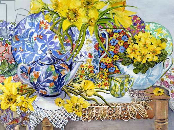 Daffodils, Antique Jugs, Plates, Textiles and Lace, 2012 (w/c on paper)