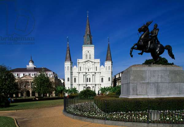 Jackson Square, with equestrian statue of Andrew Jackson and St Louis Cathedral, New Orleans, Louisiana, United States of America