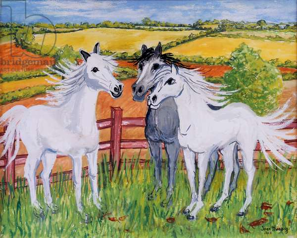 Three Frisky Horses,2002,(gouache)