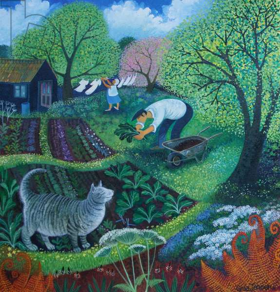 Allotment Cat (acrylic inks on paper)