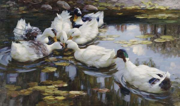 The Duck Pond,  (oil on canvas)