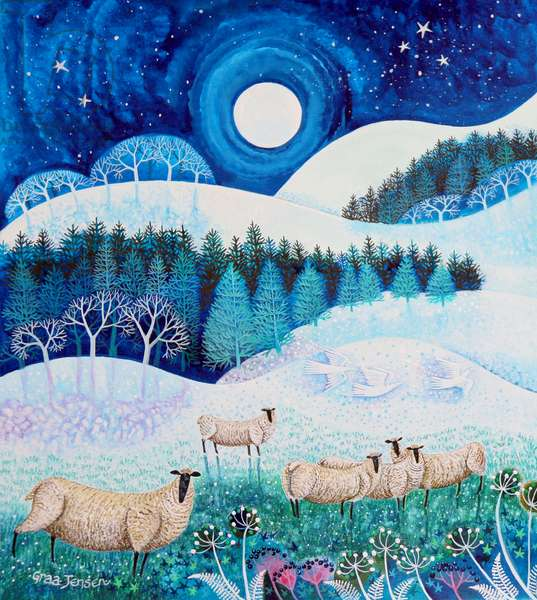 Frosty Sheep,2020, (acrylics on paper)