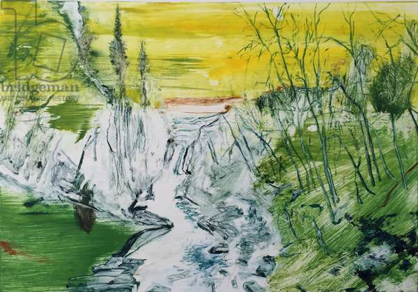 Waterfall at Dusk, Yellow, 2016, (monotype)