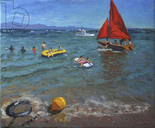 Yellow Buoy and Red Sails, Abersoch (oil on canvas)