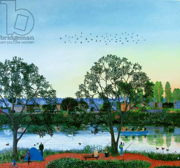 Flock of Birds above River Wandle, 2014 (oil on linen)