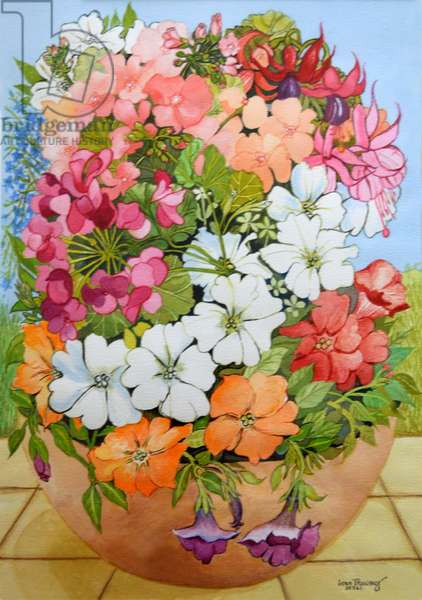 Petunias, Geraniums and Fuchsias in a Terrace Pot, 2005, (watercolour)