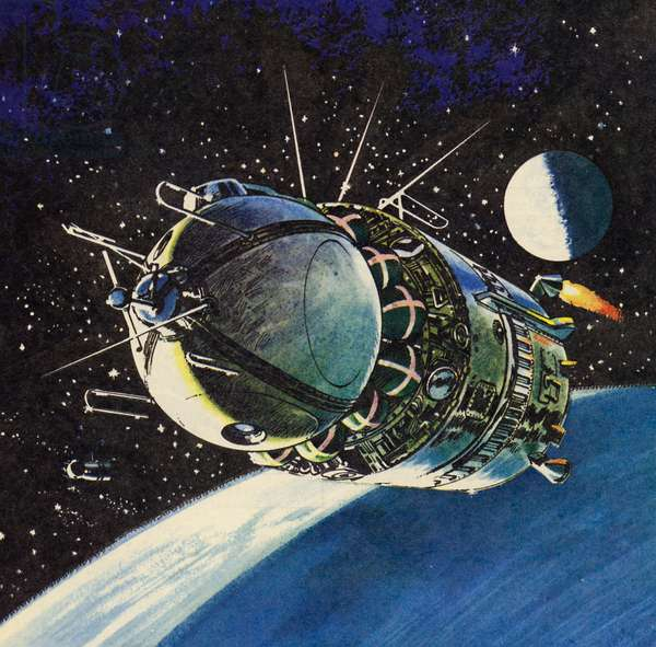 Vostok 6, in which on 16 June 1963 Valentina Tereshkova was the first woman to orbit the Earth (colour litho)