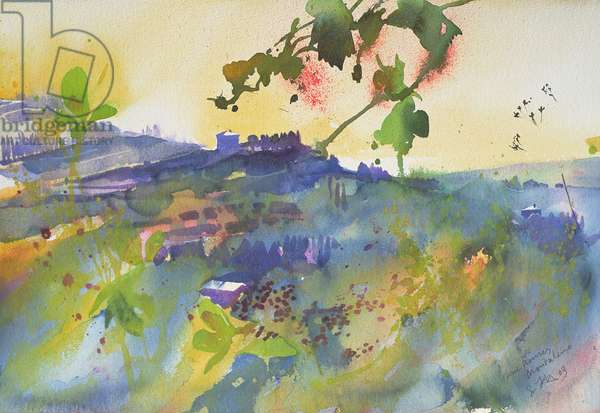 Three houses Montalcino, Italy, 2003 (watercolour)