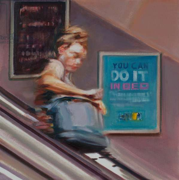 Woman on Escalator, 2015, (oil on silk)