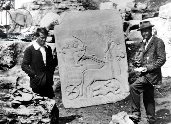 T. E. Lawrence with Leonard Woolley at Carchemish, Syria, 1911 (b/w photo)