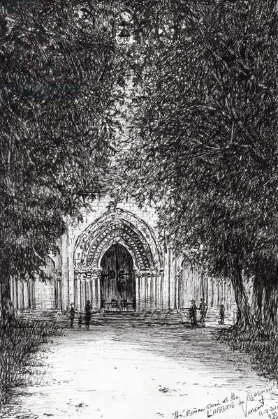 the Roman Door l'abbey de blassimon, 2010, (ink on paper)