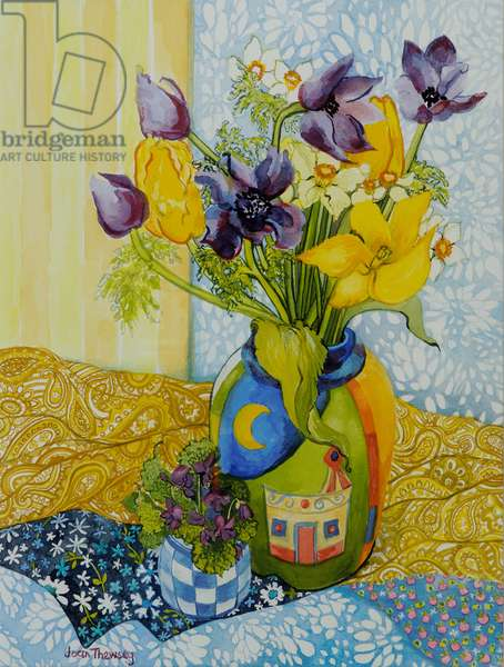 Tulips and Anemones with a Pot of Violets,2010,watercolour