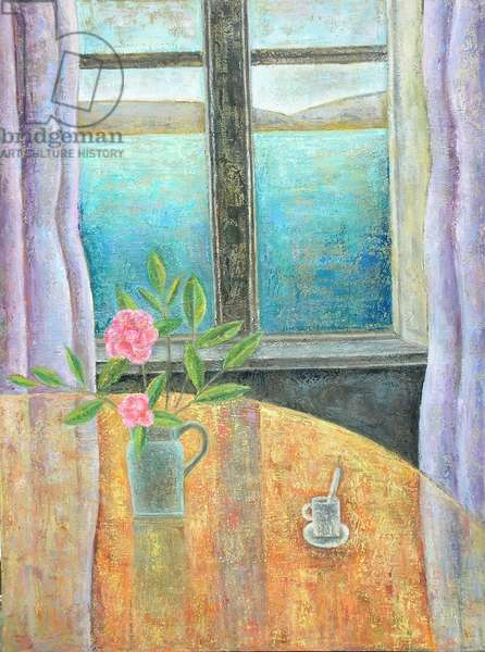 Still Life in Window with Camellia