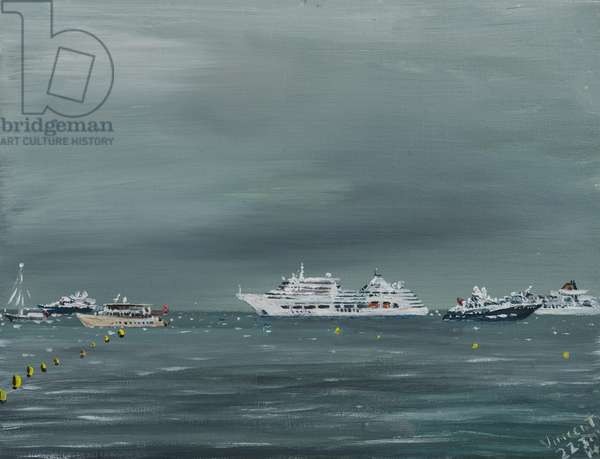 Ships and boats at Cannes, 2014, (acrylic on canvas board)