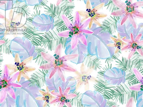 Pastel Tropical pattern, 2016, watercolour